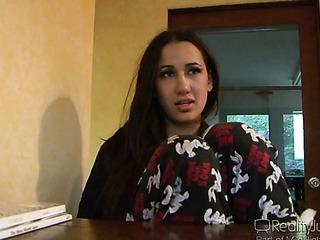 brunette babe pajamas talking