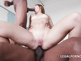 blue-eyed blonde swallows big