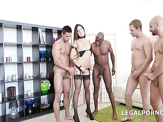 brutal interracial gangbang with