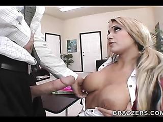 pigtailed blonde schoolgirl enjoys