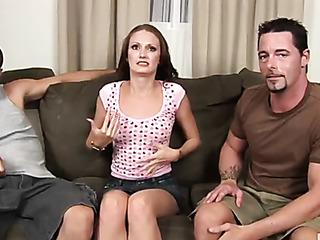skinny brunette gets interviewed