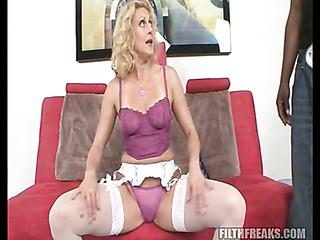 blonde mom fishnet stockings