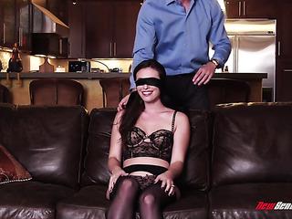 blindfolded wife got her