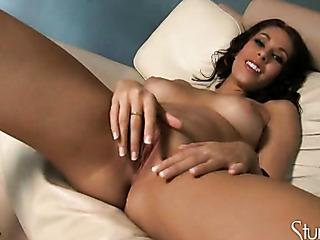 playful brunette babe gets