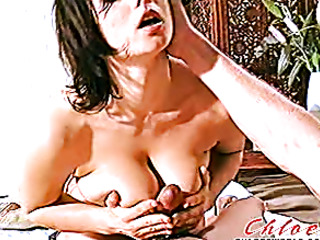 short-haired brunette fucks blindfolded