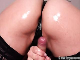 black panties oiled-up brunette