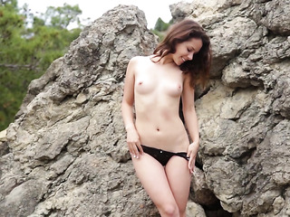 slender blonde black lingerie
