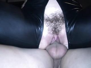 milf black leather suit