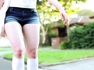 leggy chick rollerblades the