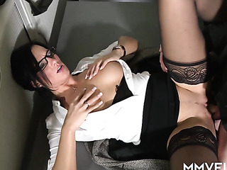 black-haired secretary stockings drilled