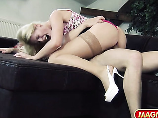 blonde pink blouse banged