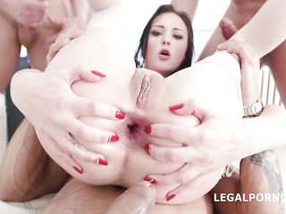 brunette triple penetration creampie