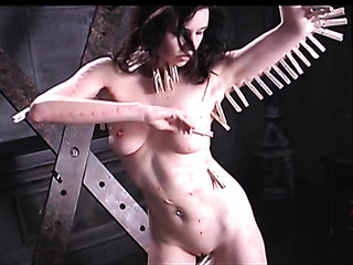kinky brunette clothes pins