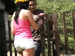 brunette gets doggystyled the