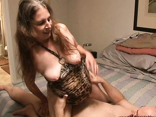 brunette granny leopard dress