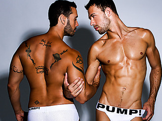 muscular inked gay and
