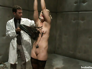 blonde bitch stockings gets