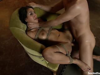brunette chick gets tied