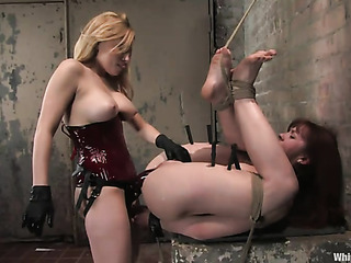 blonde whore red corset