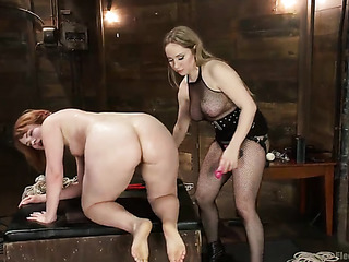 hogtied red babe with