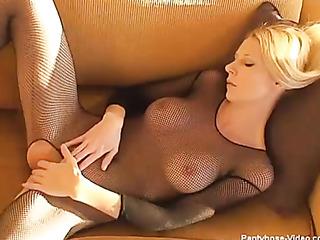 alluring blonde lays down