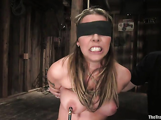 blindfolded busty blondie gets
