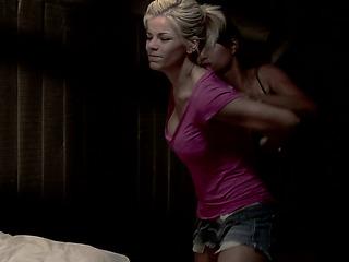 blonde girl pink top