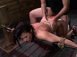 tied girl gets deepthroated