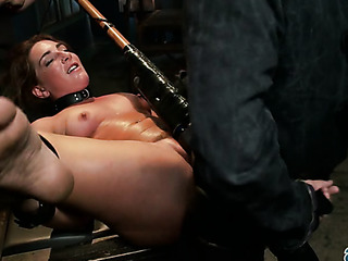 chubby pigtailed brunette impaled