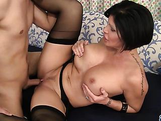 busty mature brunette black